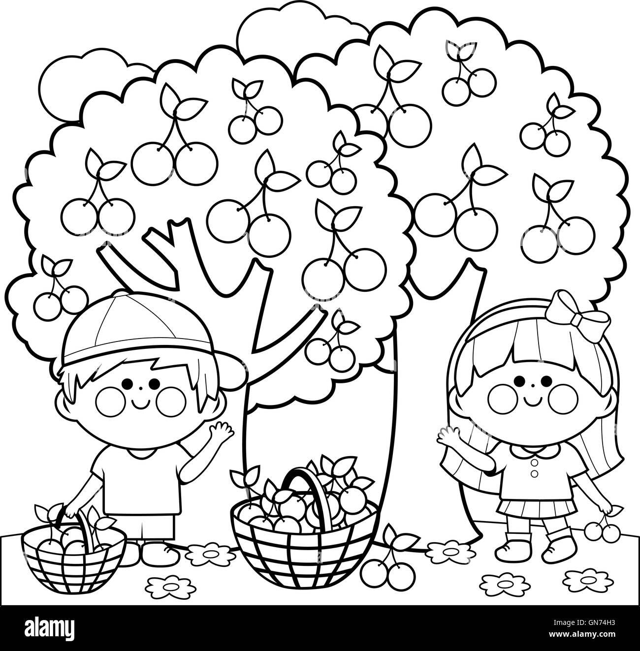 Coloring Book Kids Grass Flowers Stockfotos & Coloring Book Kids ...