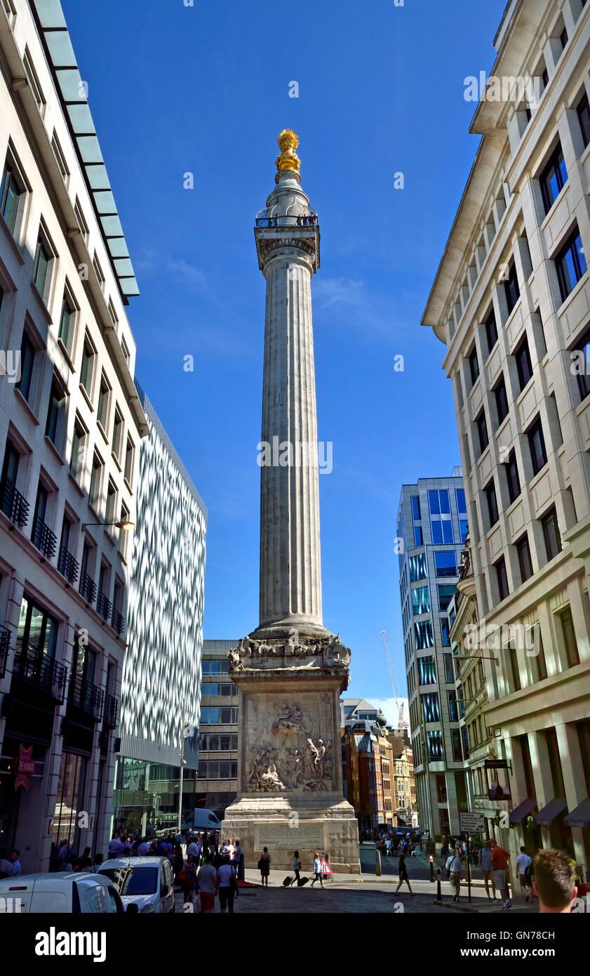 London, England, Vereinigtes Königreich. Denkmal für den großen Brand von London (Sir Christopher Stockbild