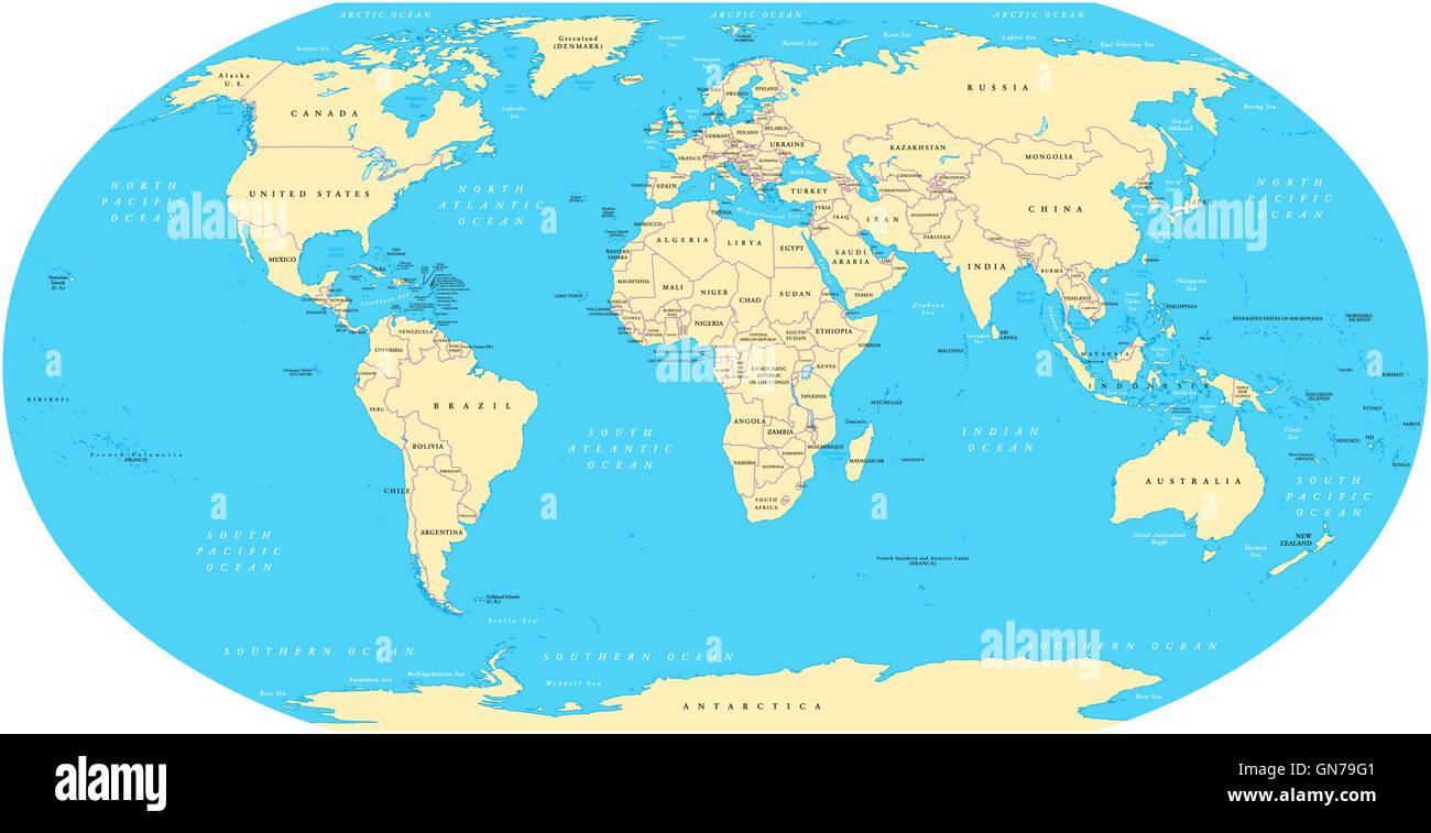 Weltkarte mit Küstenlinien, Landesgrenzen, Ozeane und Meere unter ...