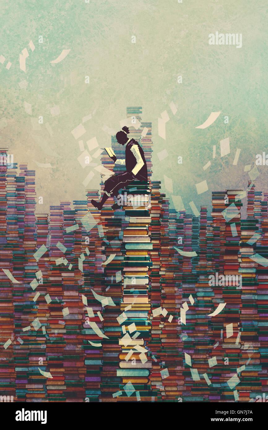 Mann liest Buch sitzend auf Haufen Bücher, wissen Konzept, Illustration, Malerei Stockbild