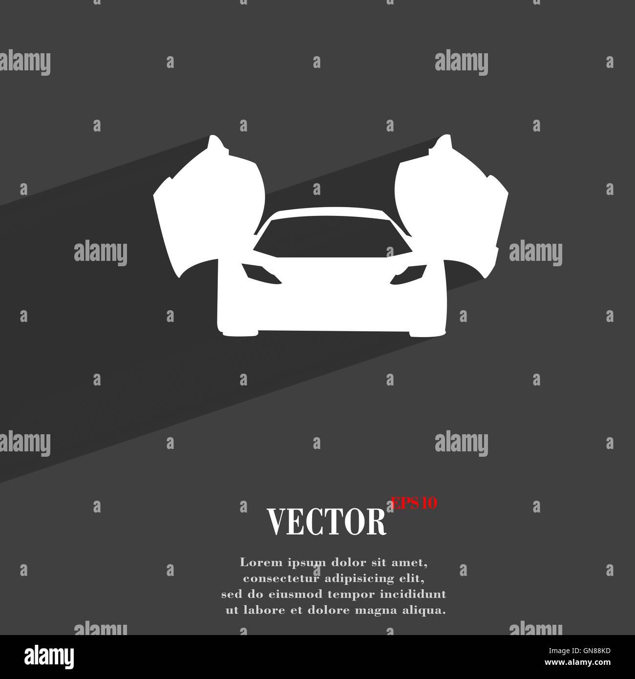 Sportwagen-Symbol flach moderne Webdesign mit langen Schatten und Platz für Ihren Text. Vektor Stockbild