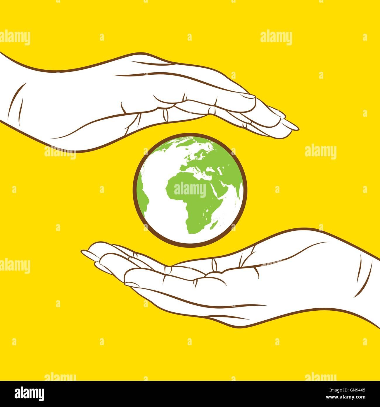 retten Sie Erde zu und gehen Sie grüne Konzeptdesign Stockbild