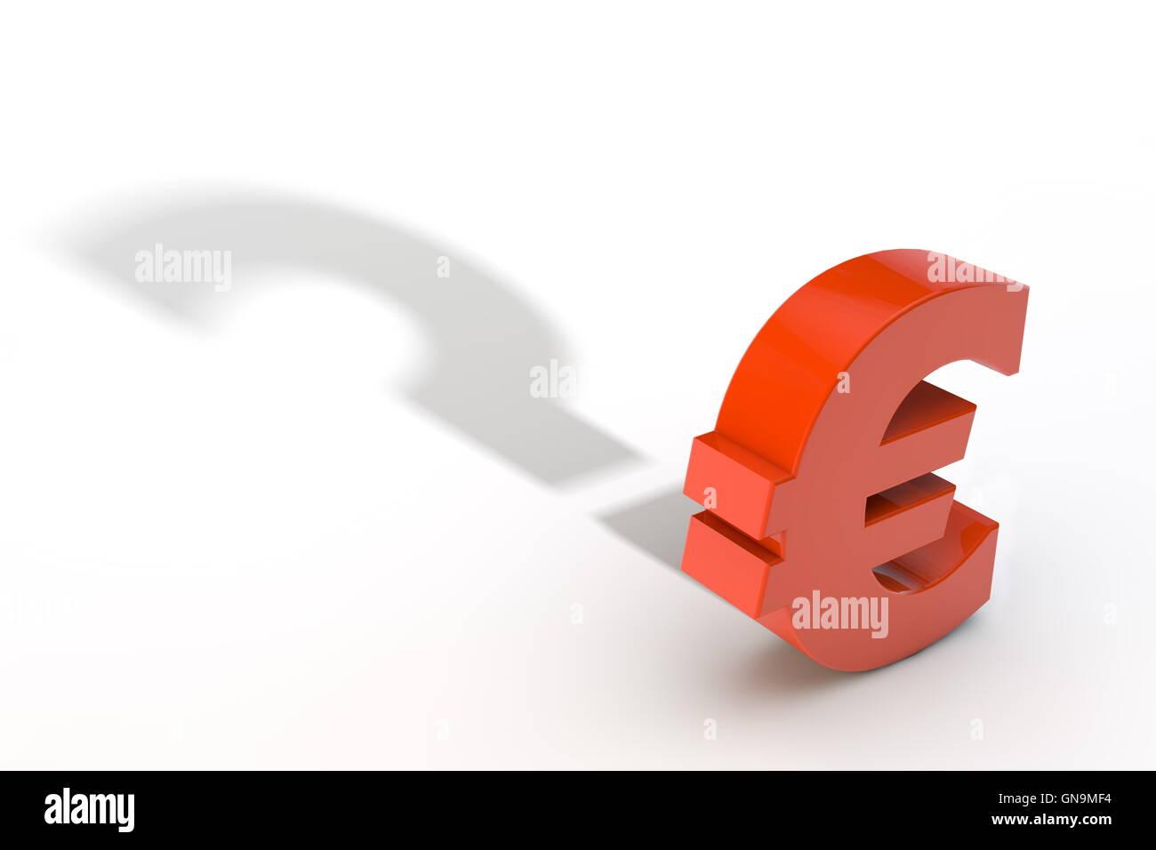 Rot Euro-Währungssymbols mit Frage Mark Schatten Stockbild