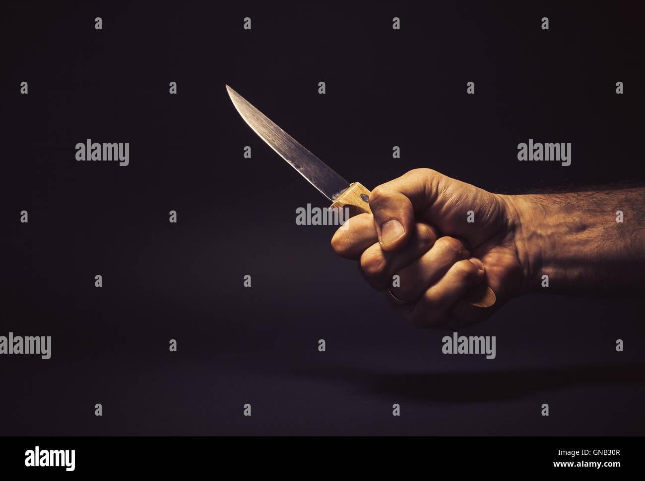 Konzeptuelle Komposition Mannes Hand Halten Ein Grosses Kuchenmesser
