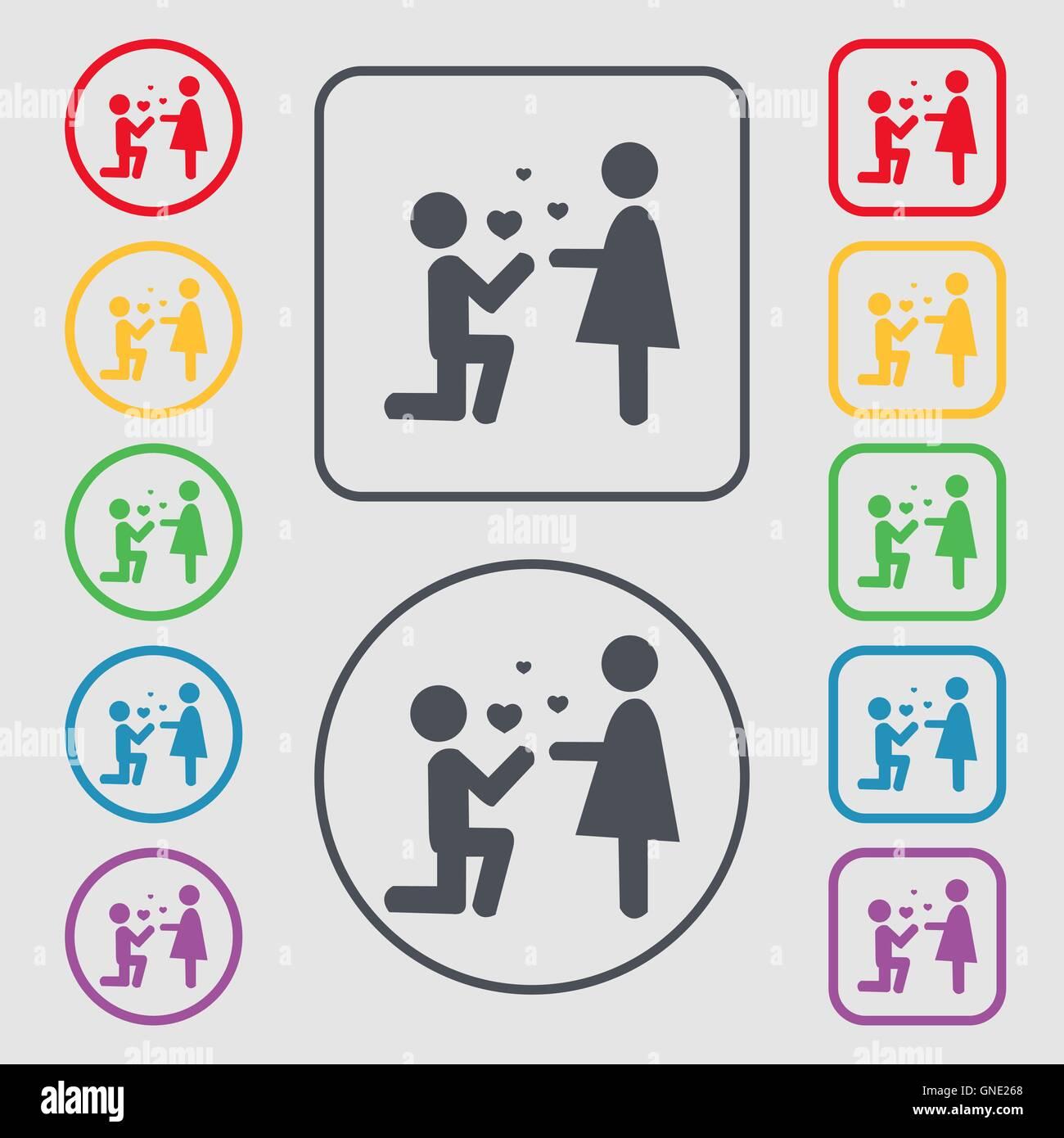 Ein Angebot der Ehe Symbol Zeichen. Symbol auf der Runde und ...
