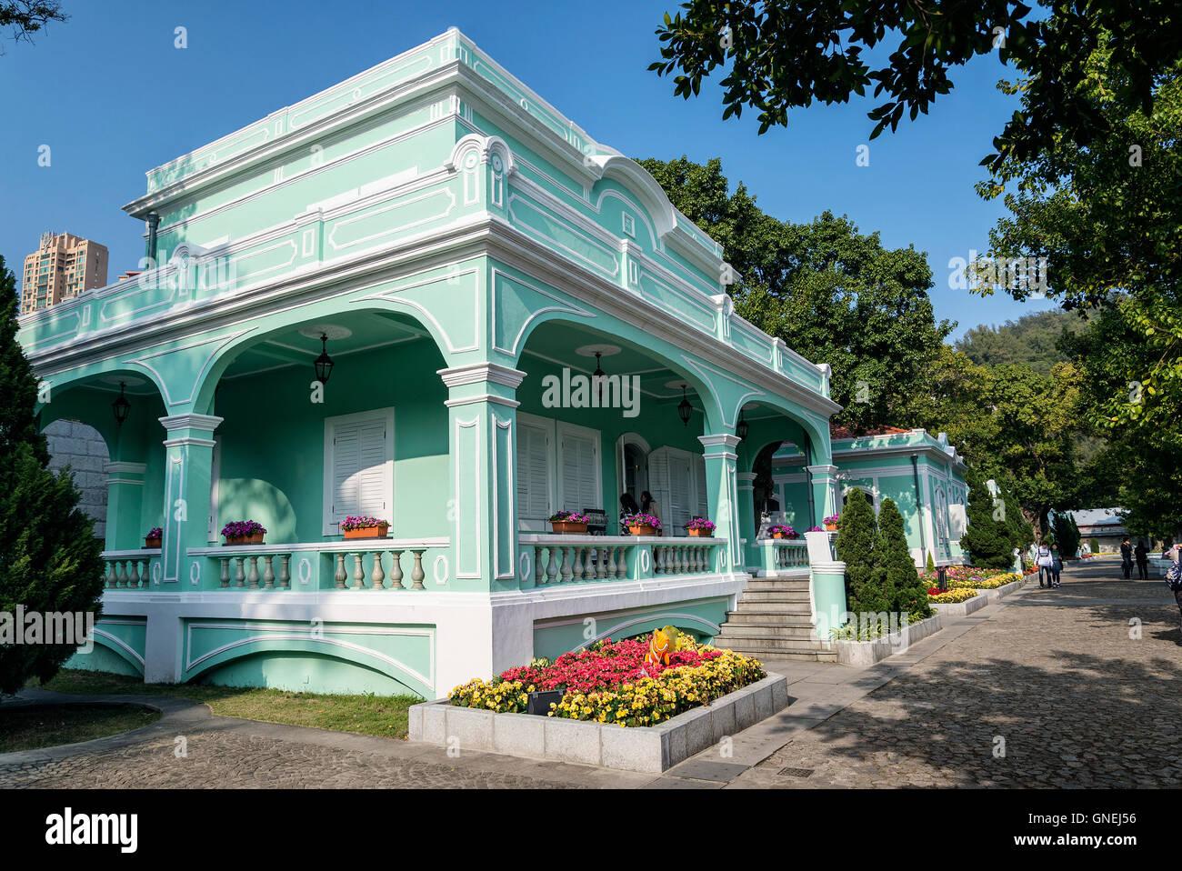 alte portugiesische Kolonialvillen Touristenattraktion in Taipa Bereich von Macao Macau China Stockbild