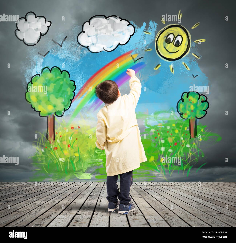 Konzept einen grauen Tag mit farbigen Tag ändern Stockbild