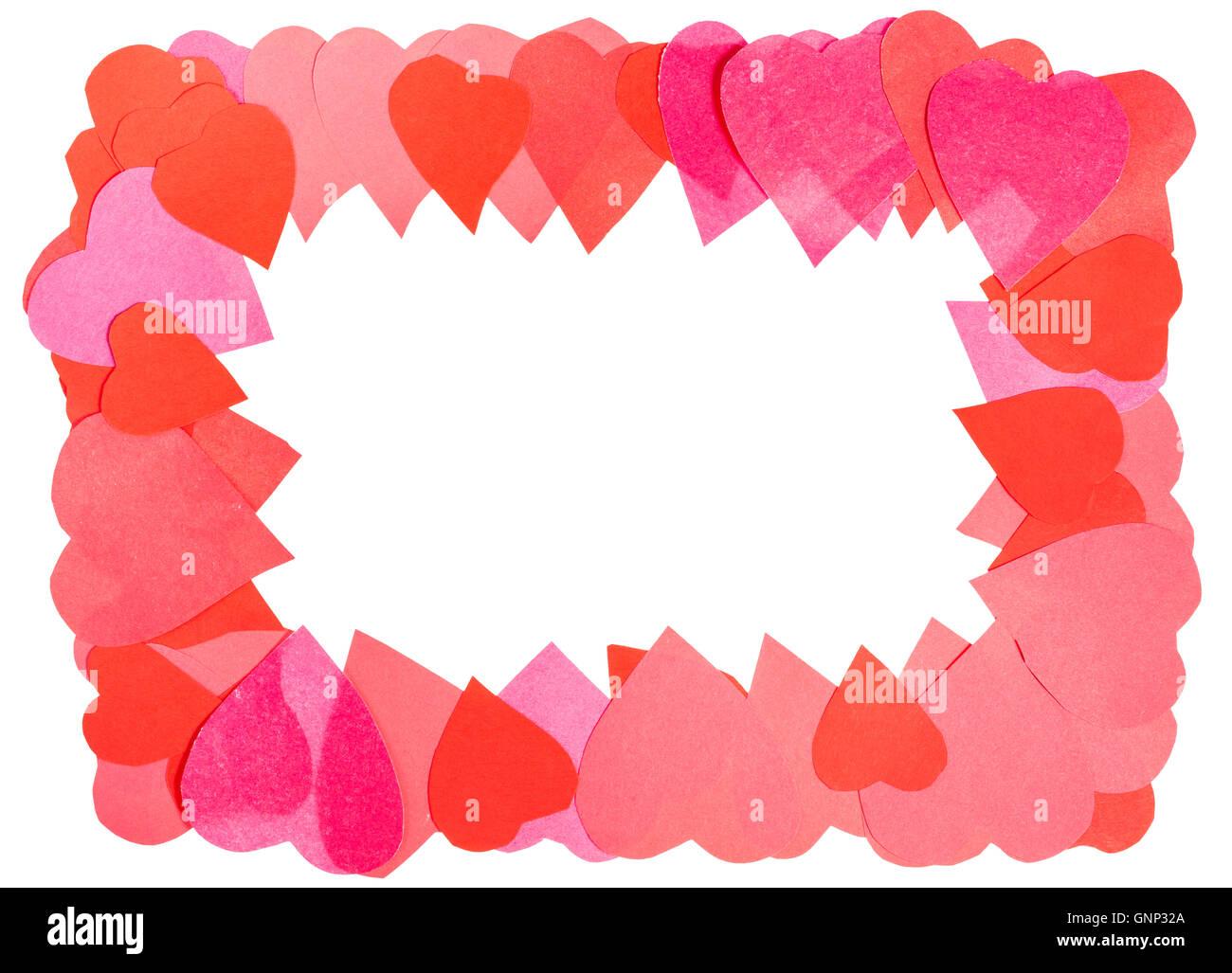 Rahmen aus Herzen geschnitzt aus Papier mit ausgeschnittenen ...