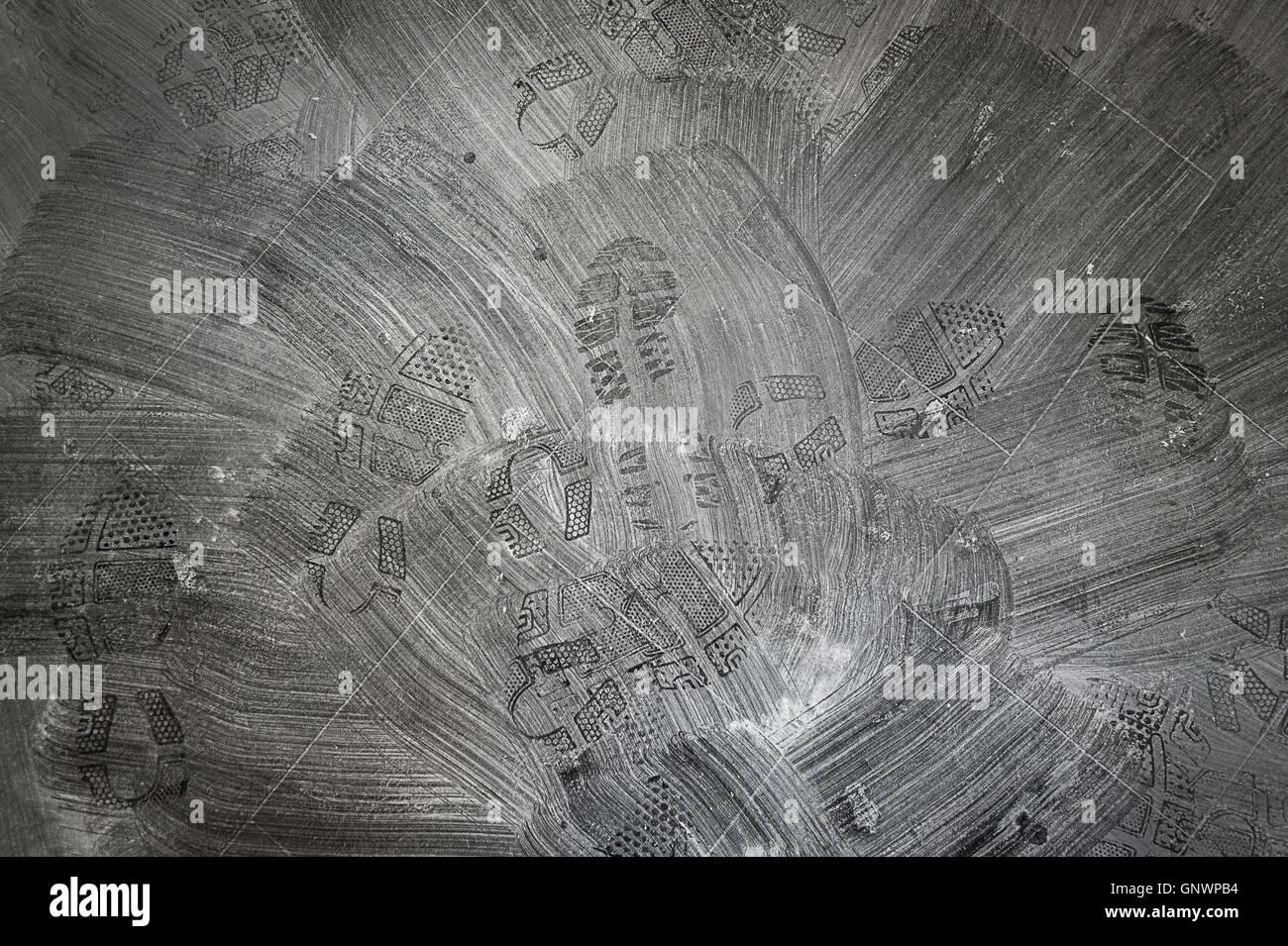 Muster nach fegen Trockenbau Staub Stockbild