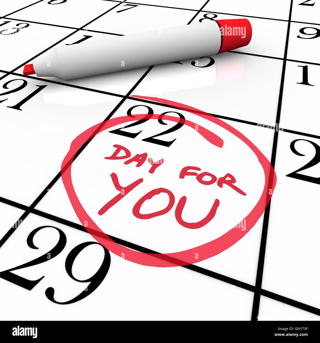 Kalender - Tag verwöhnen Sie sich verwöhnen und entspannen Stockbild