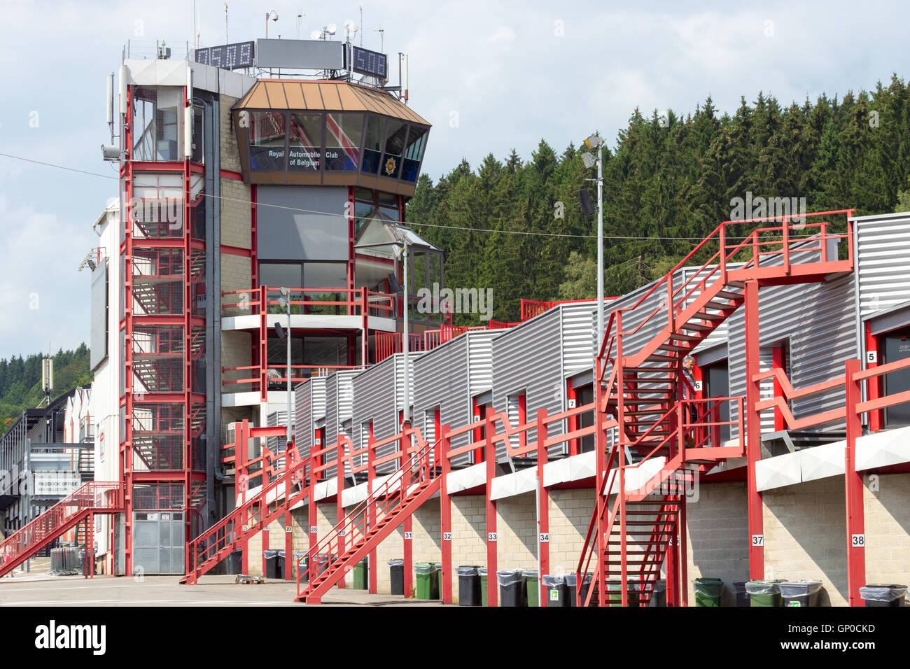 Kontrollturm der Rennstrecke Spa-Francorchamps Stockbild