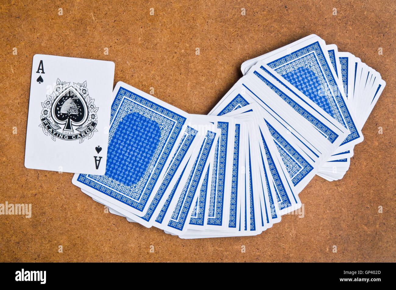 Spielkarte Pik-Ass Stockfoto