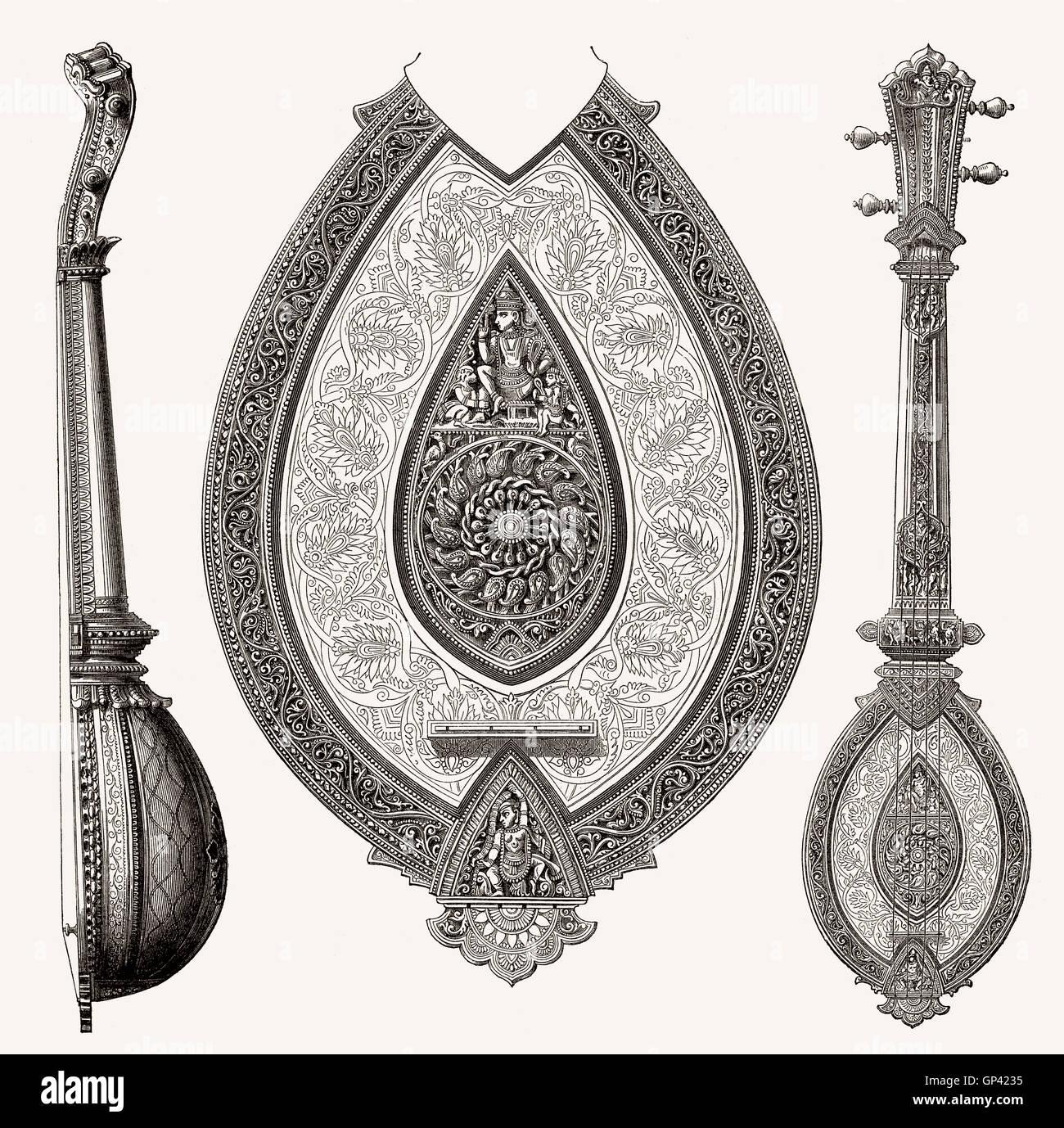 Alte indische Saiteninstrument, 19. Jahrhundert Stockbild