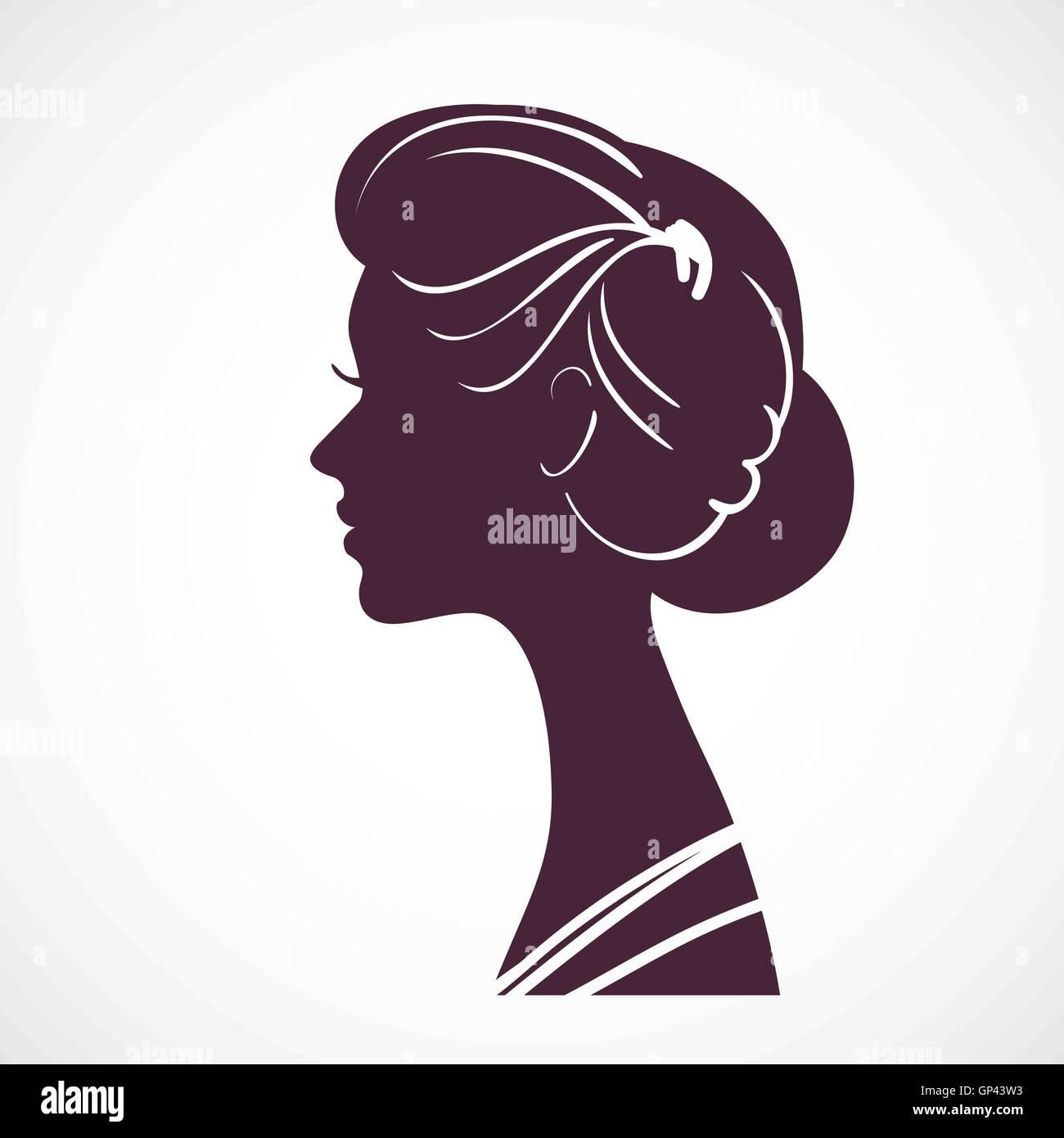 Frauen silhouette Kopf mit schönen stilisierte Frisur. Stockbild