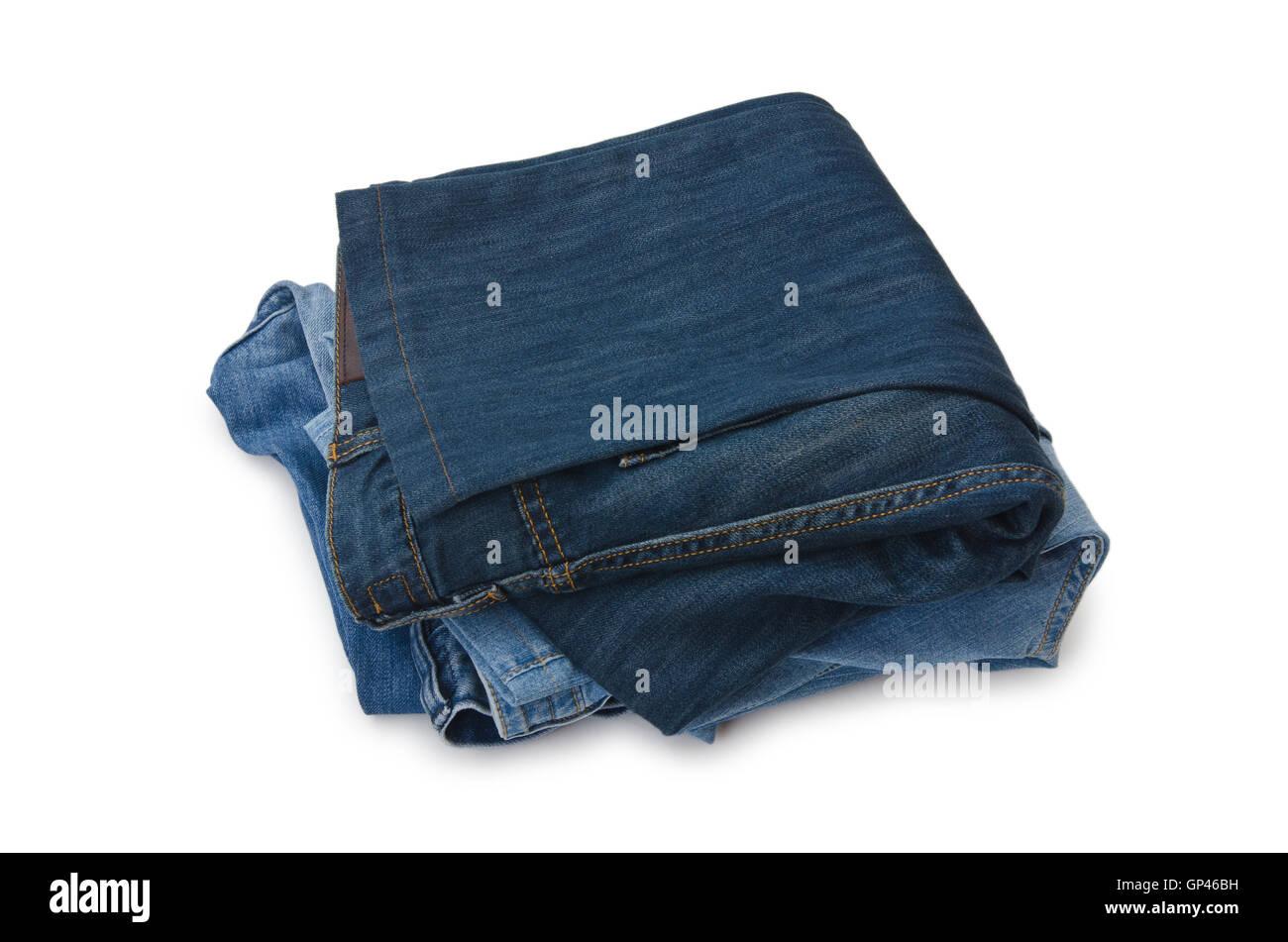 5009b848ed11 Paar Jeans isoliert auf dem weißen Stockfoto, Bild  116877477 - Alamy