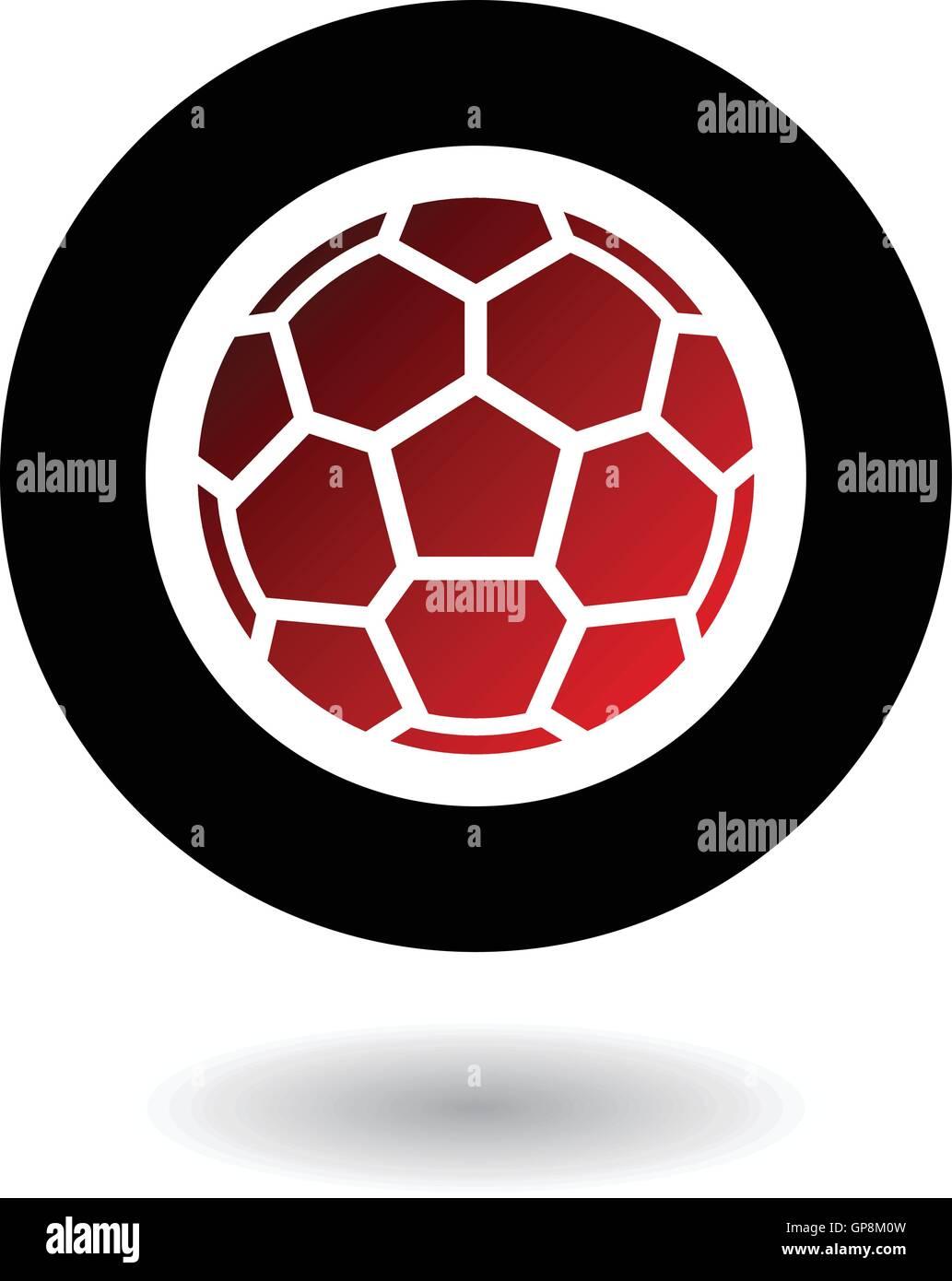 Roten Fußball in schwarzen Kreis isoliert auf weiss Stock Vektor