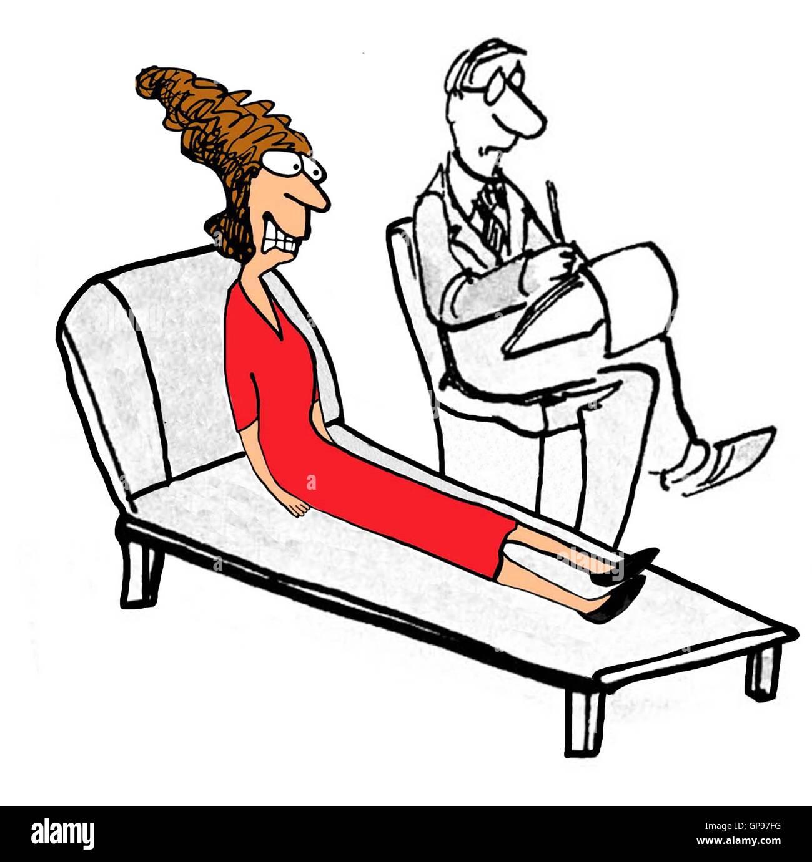 Psychische Gesundheit Illustration gestresste Frau mit männlichen ...
