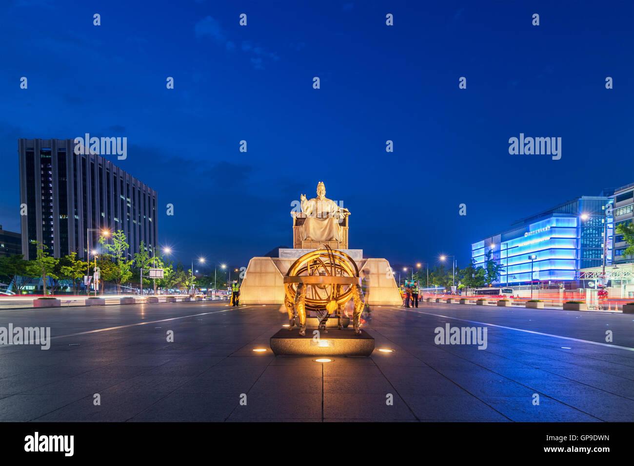 Korea, Sejong-Statue in der Stadt Seoul, Südkorea. Stockbild