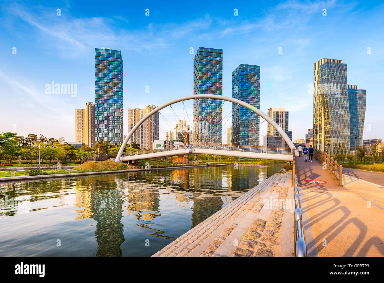 Incheon, Central Park in Songdo International Business District, South Korea Stockbild