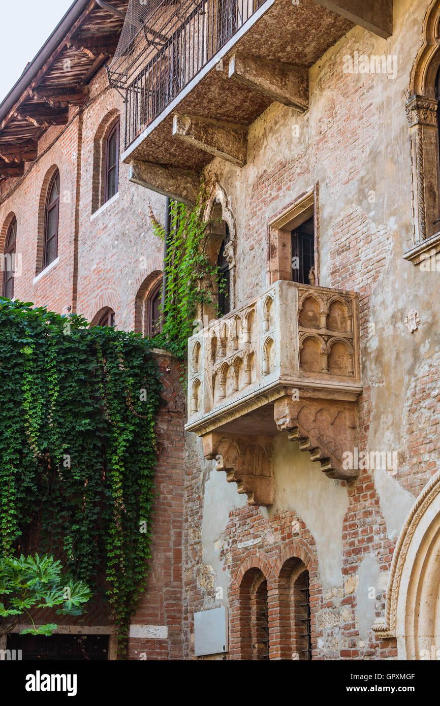 Terrasse und Balkon von Romeo und Julia Haus, Verona, Italien Stockbild