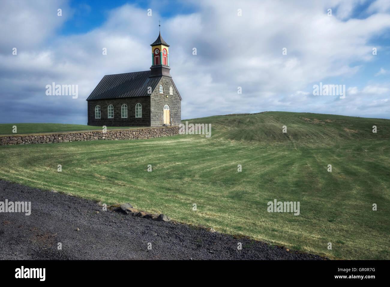 Hvalsneskirkja, Sandgerdi, Island Stockbild