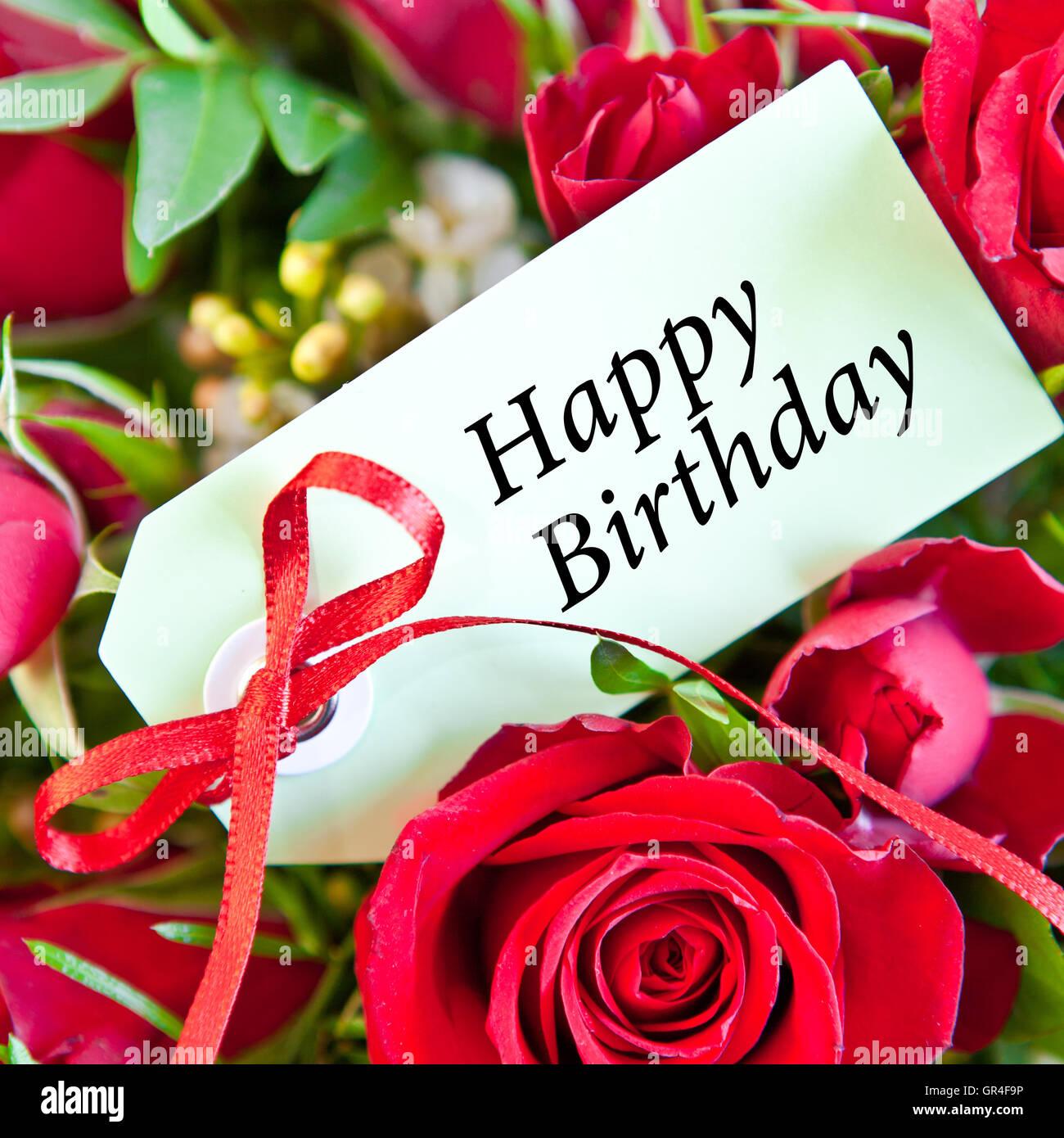 Rote Rosen für alles Gute zum Geburtstag Stockfoto, Bild