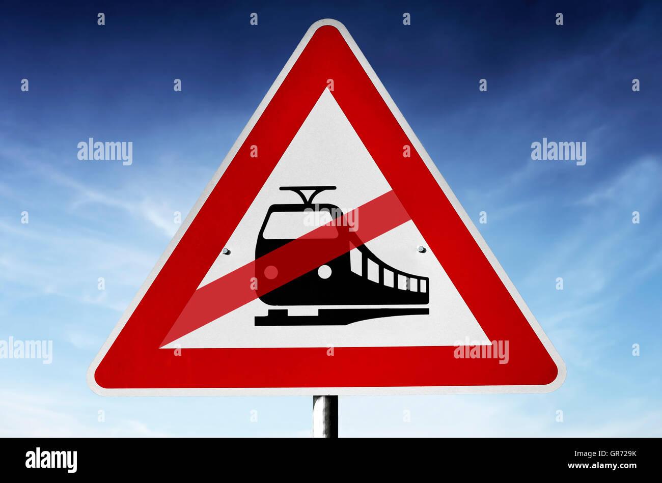 Schiene-Piktogramm auf Verkehrszeichen, Eisenbahnerstreik Stockbild