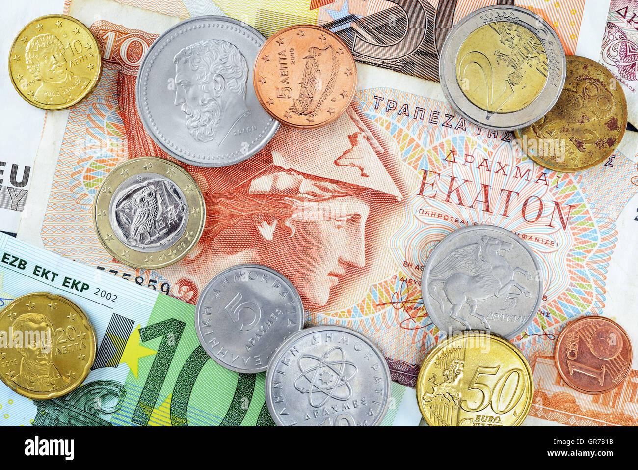 Griechische Drachme Und Euro Scheine Und Münzen Stockfoto Bild
