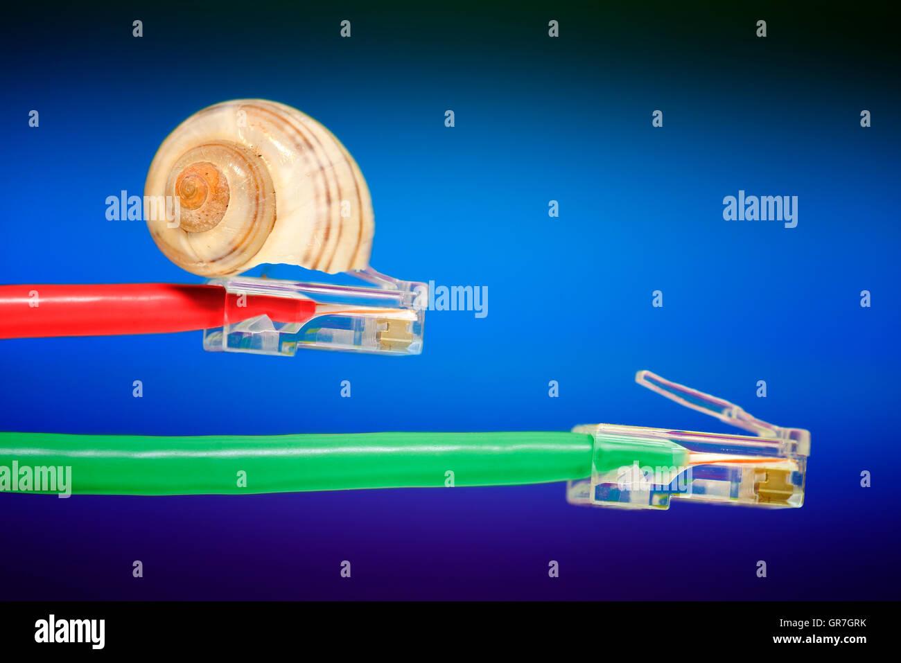 Langsame und schnelle Internet-Verbindung Stockbild