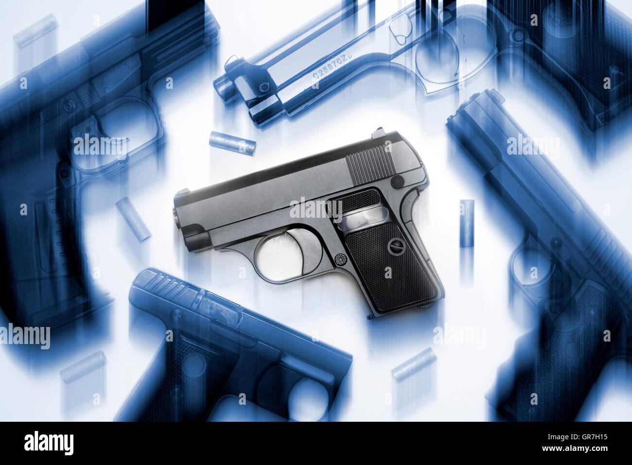 Gas-Pistolen und Gewehre Stockbild