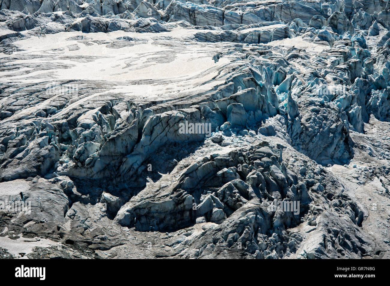 Eisfall, Glacier Du Tour, Le Tour, Chamonix, Haute-Savoie, Frankreich Stockbild