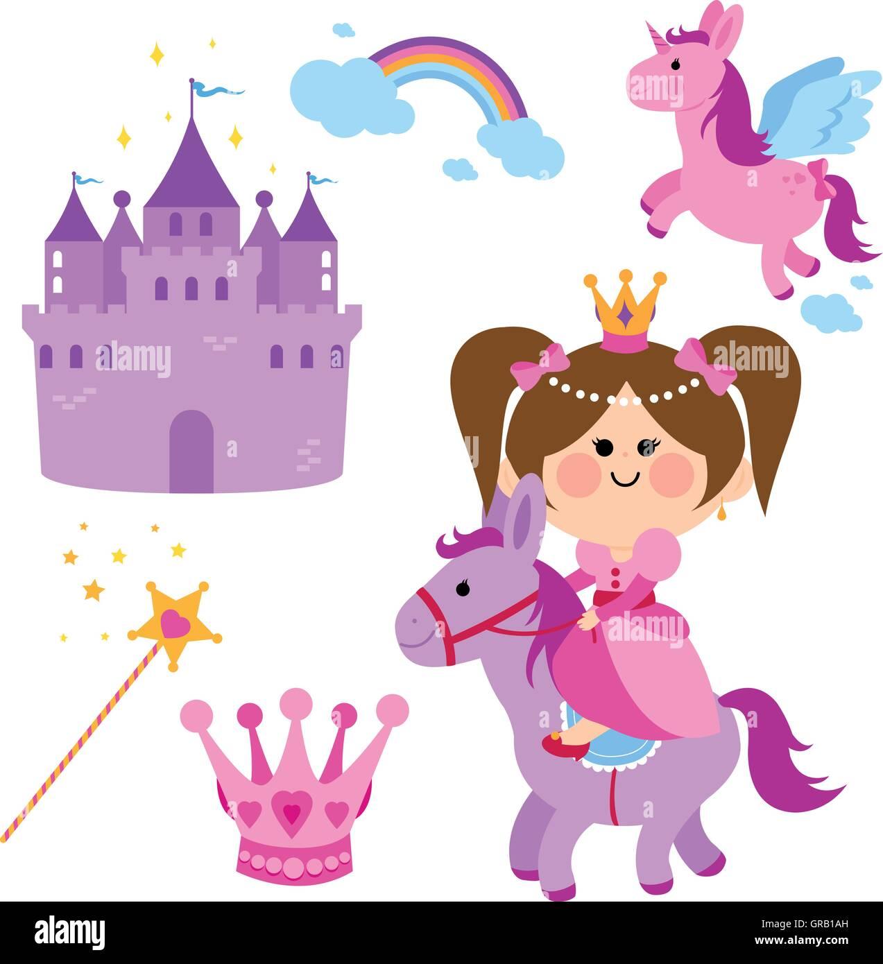 H bsche fee prinzessin reiten ein pferd eine burg einhorn regenbogen krone und magic - Englisch krone ...