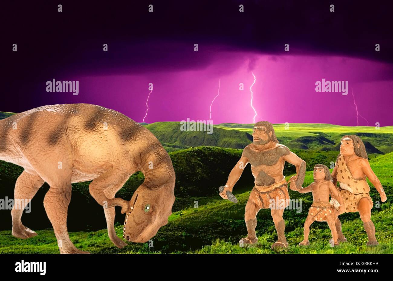 Höhlenmenschen konfrontieren Dinosaurier Stockbild