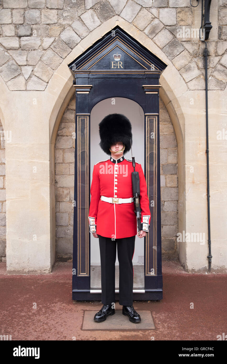 Coldstream Guards Soldat auf Pflicht in Windsor Castle, königliche Residenz in Windsor, Berkshire, England, Stockbild