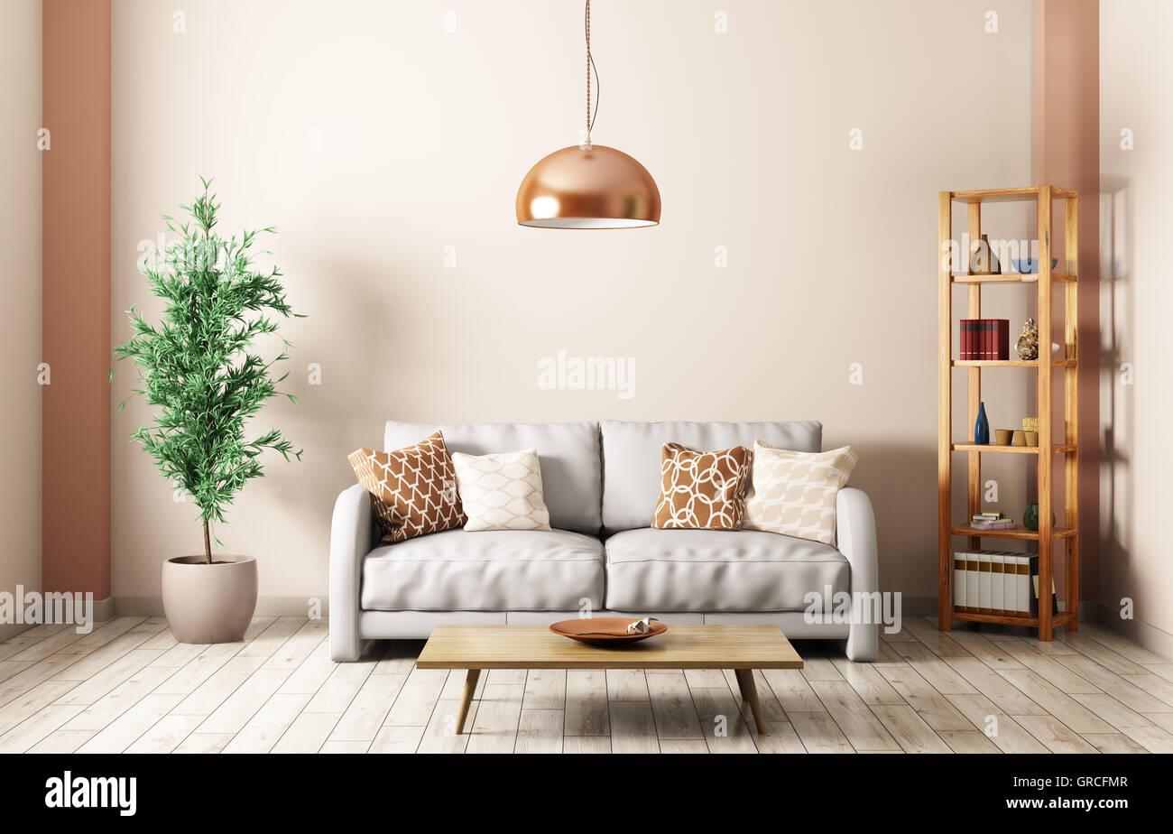 Moderne Einrichtung von Wohnzimmer mit Sofa grau, Lampe, Regal ...