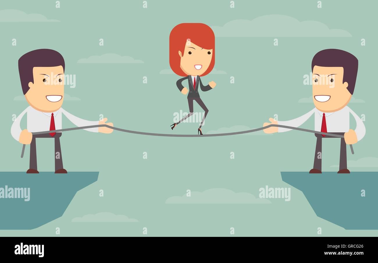 Vektor-Frau über einen Abgrund. Menschen helfen sich gegenseitig Stock Vektor
