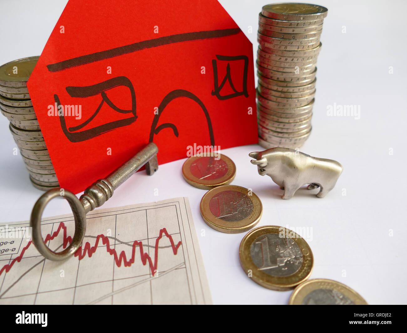 Symbol Foto ein Haus zu kaufen, hier Haus Finanzierung mit Aktie Ergebnis Stockbild