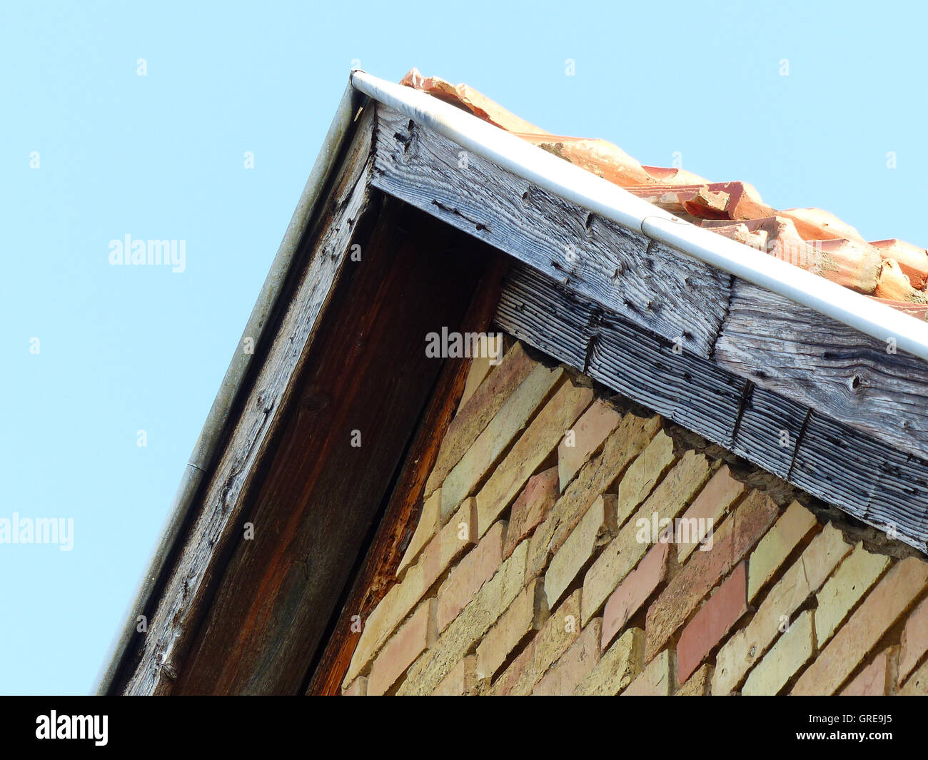Giebel eines Hauses Stockbild