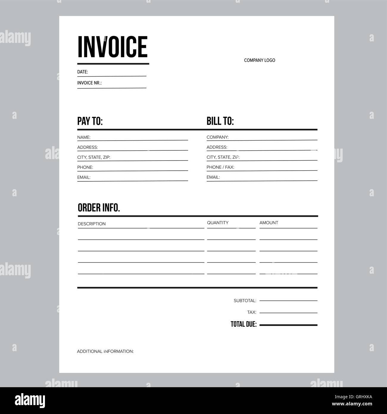 Rechnung Business Template Brief Usa Standardpapier Vektor
