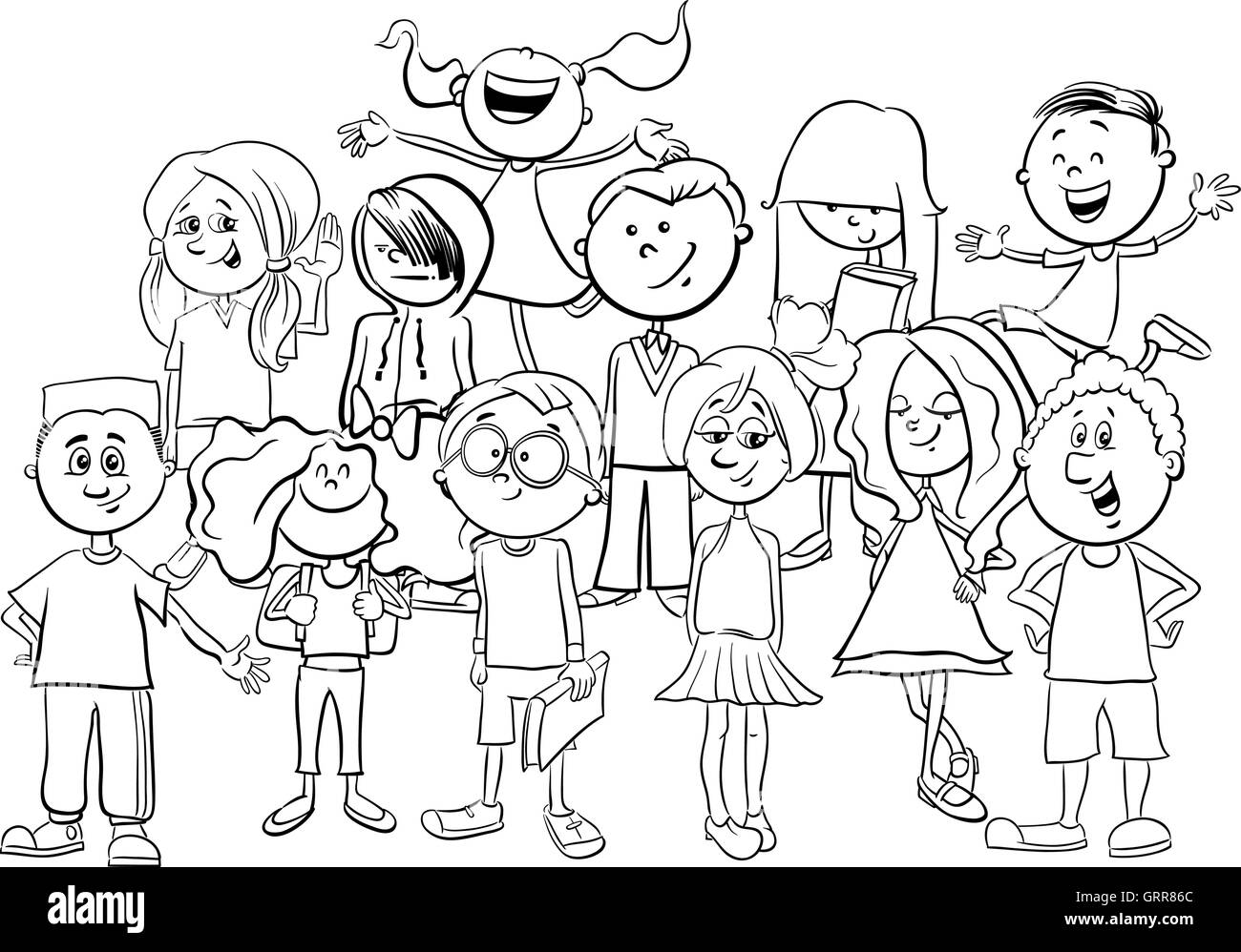 Schwarz / Weiß Cartoon Illustration der Grundschulkinder oder ...