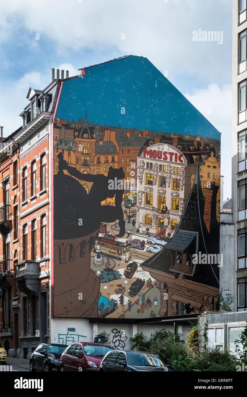 öffentliche Graffiti Wand Kunst Wandbild Brüssel Belgien Stockbild