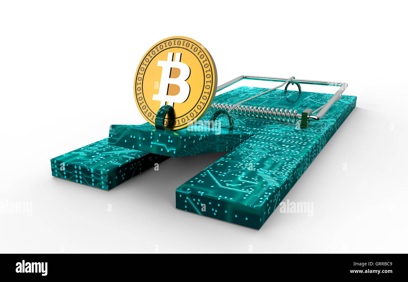 Mausefalle mit Bitcoin als Köder isoliert, 3d illustration Stockbild