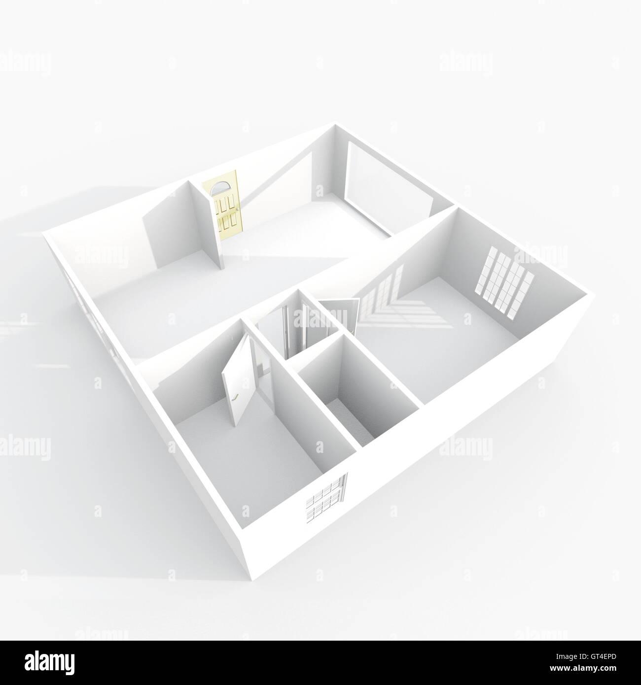 Inneren 3D Rendering Leeres Papier Modell Haus Wohnung