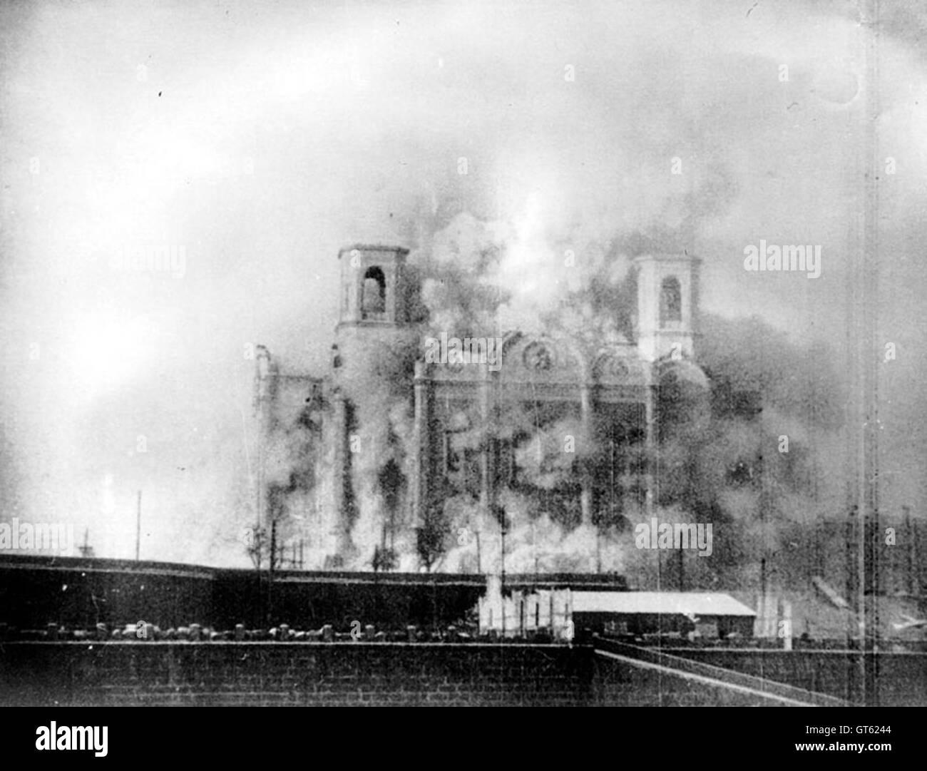 Abriss der Kathedrale von Christus dem Erlöser in Moskau. 1931 Stockbild