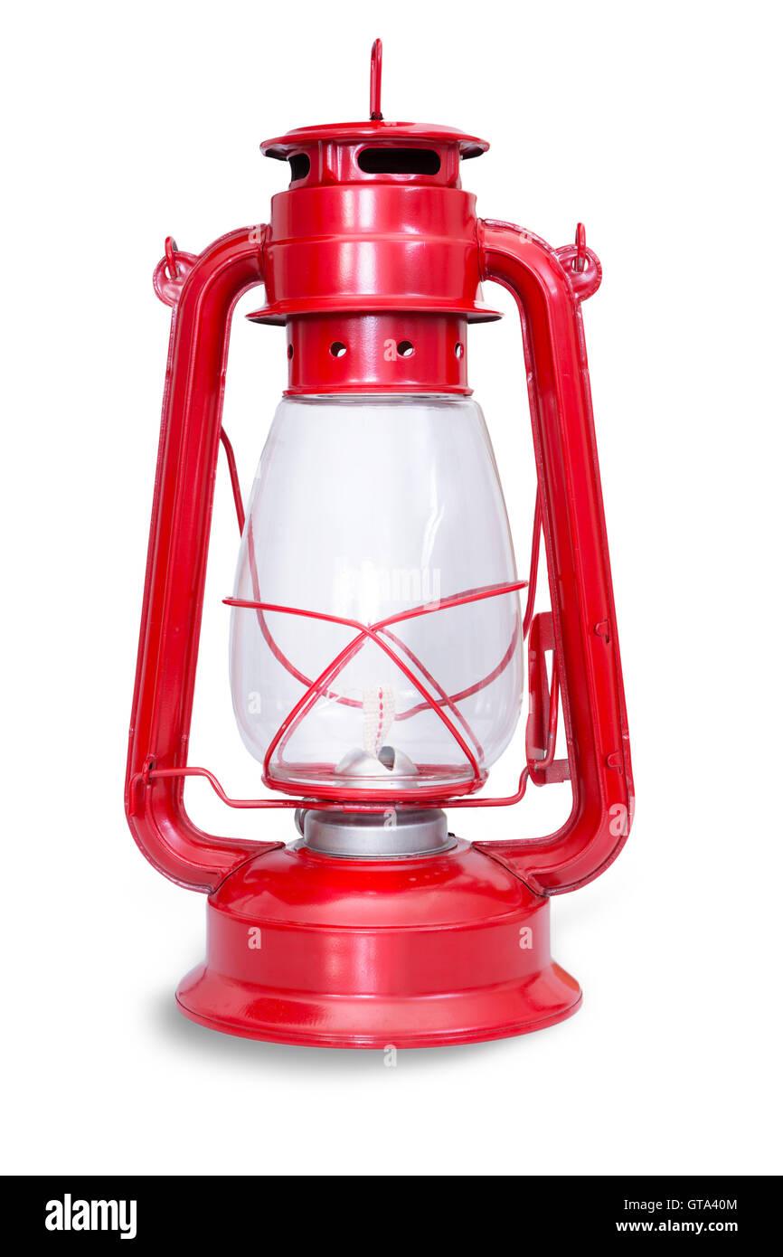 Isolierte Bild der roten Kerosin-Laterne mit Kammer und Metall ...