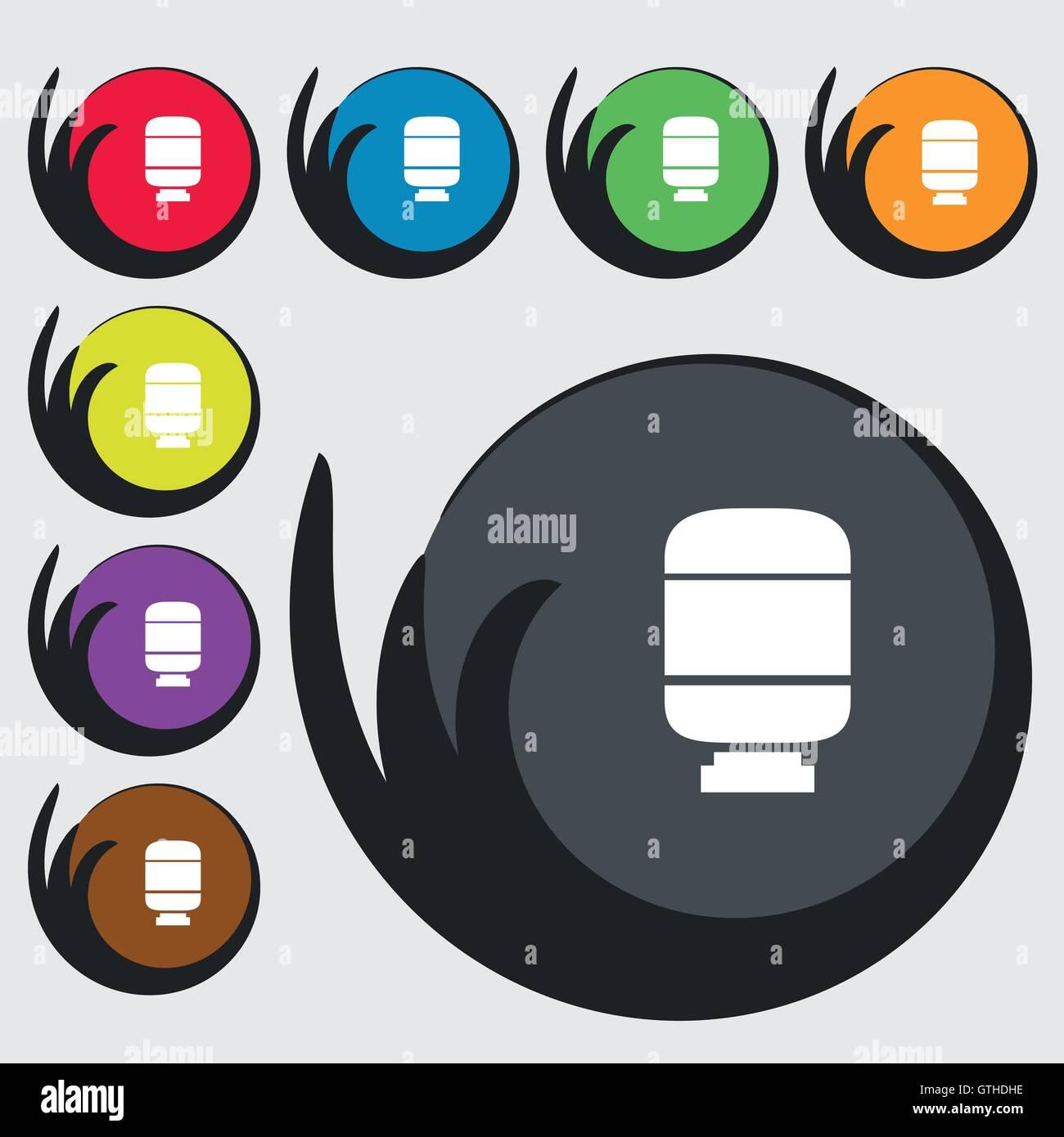 Medikamente-Symbol Zeichen. Symbole auf acht farbigen Tasten. Vektor Stock Vektor