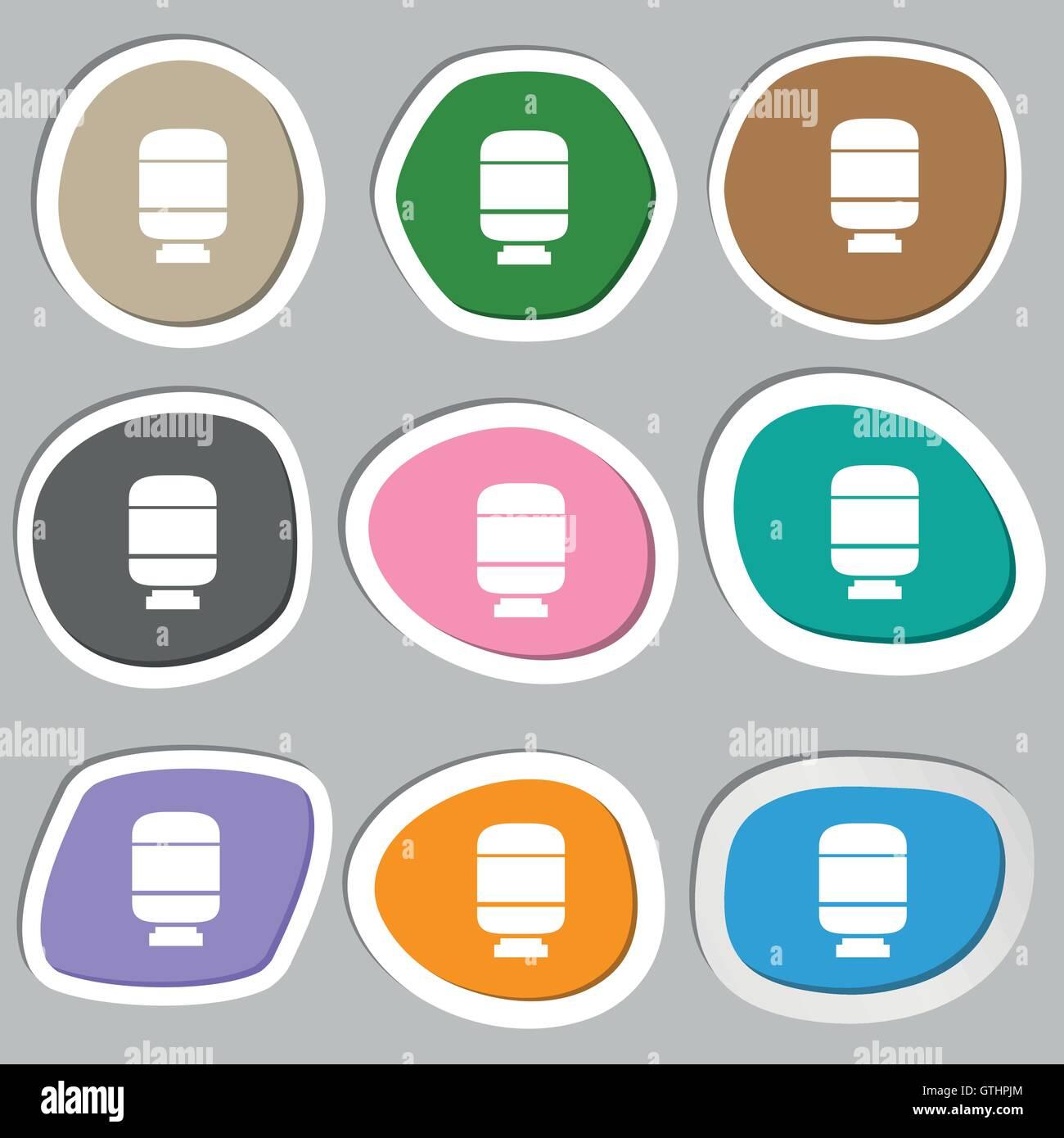 Medikamente-Symbol Symbole. Bunte Papier Sticker. Vektor Stock Vektor