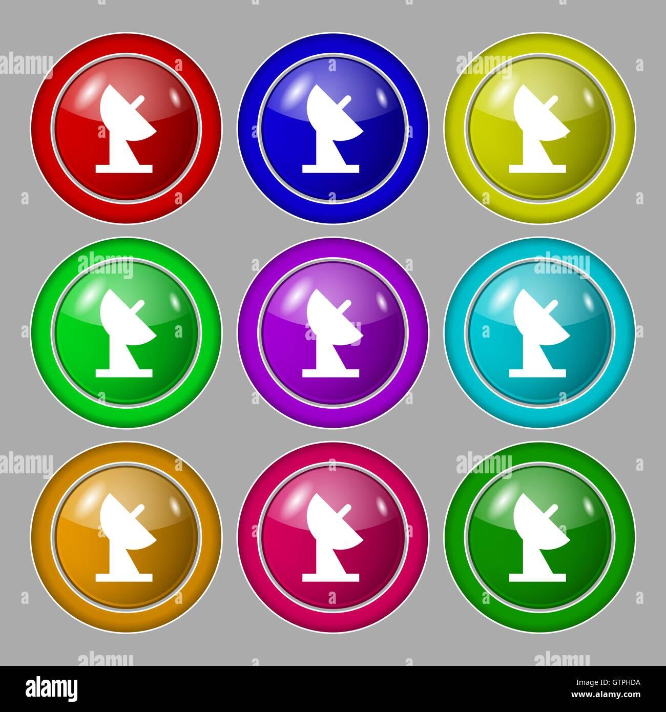 Satschssel Symbol Zeichen Symbol Auf Neun Runden Bunten Knpfen Vektor  Stockbild With Schussel Aus Knopfen