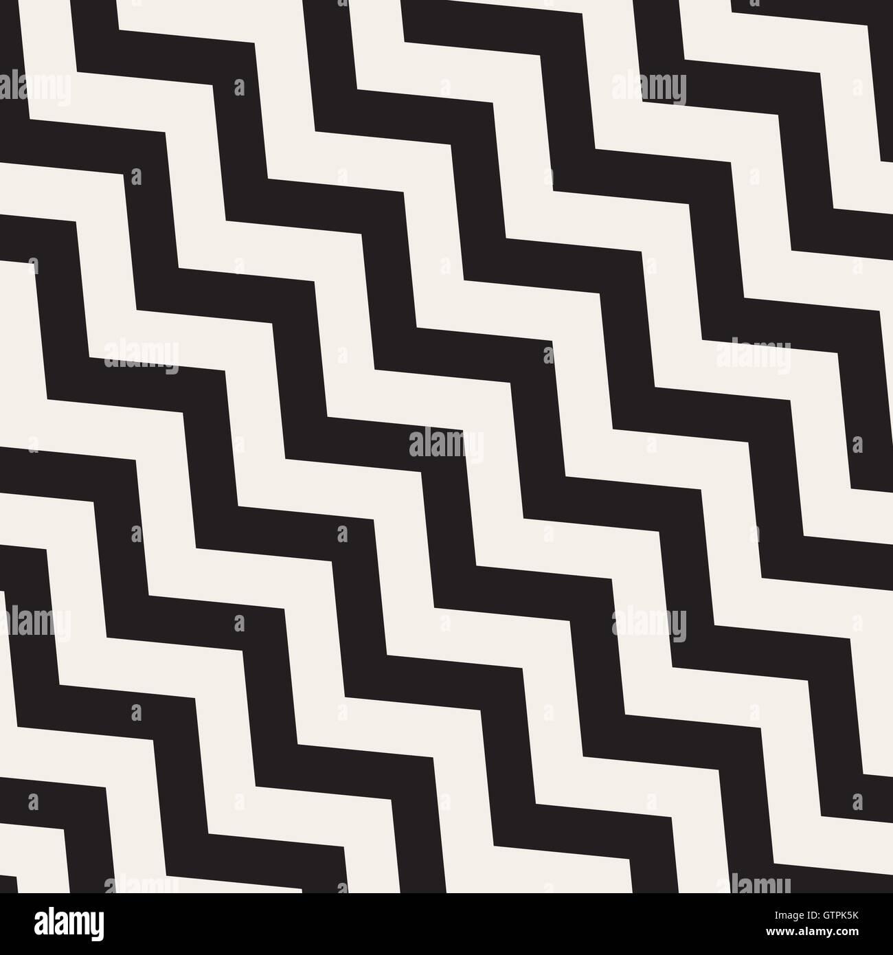 Vektor nahtlose schwarz-weiß Zick-Zack-Diagonale Linien ...