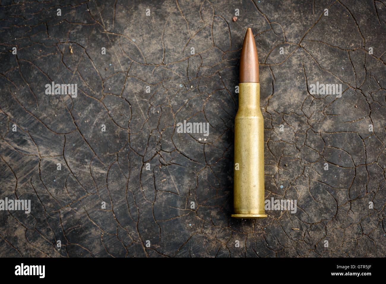 Einzelne 7,62 mm Kugel mit Patronenhülse aus Messing. Ungebrannte Munition für moderne Sturmgewehre wie Stockbild